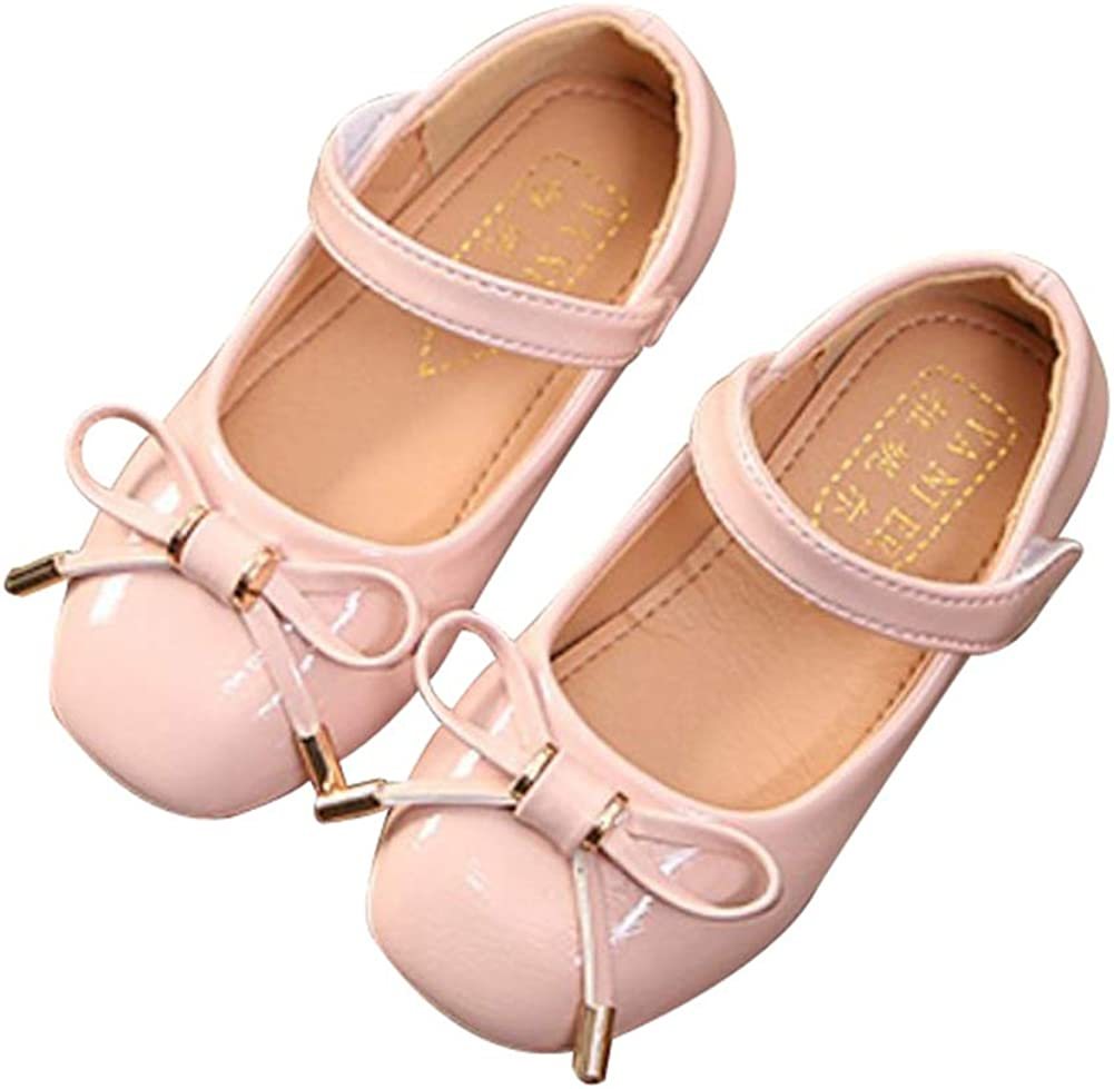 F-OXMY Toddler Little Girls Glitter Bowknot Mary Jane Slip On Ballet Princess Shoes with Strap