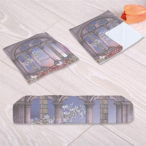 C COABALLA Gothic Lightweight Towels,Ancient Colonnade in Secret Garden for Gymnasium Go Hiking,One Sided Printing:3 Piece Towel Set
