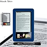 eBigValue Premium Grade Barnes & Noble Nook Silicone Skin Cover Case (Navy, Blue, Dark Blue) + 4-inch (TM) Determination Hand Strap + Full set of Screen Guard Protector for your Nook