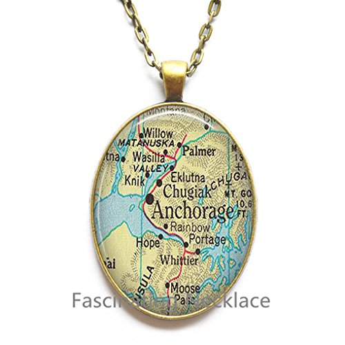 Charming Necklace,Anchorage map Pendant, Anchorage Alaska map Necklace, Anchorage Pendant, Anchorage - Anchorage Shops Glass