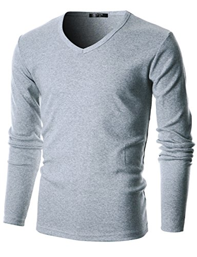 GIVON Mens Slim Fit Flice Cotton Long Sleeve Lightweight Thermal V-Neck (Cotton Thermal Shorts)