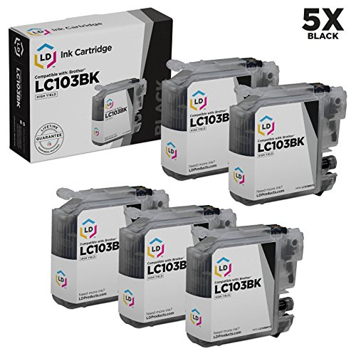 LD © compatible with Brother  LC103 Set of 5 Ink Cartridges: 5 of LC103BK Black for the MFC J245, J285DW, J450DW, J470DW, J475DW, J650DW, J6520DW, J6720DW, J6920DW, J870DW, J875DW and DCP-J152W Printers