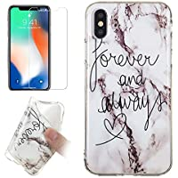 for iPhone X/iPhone Xs Marble Case and Screen Protector,Unique Pattern Design Ultra Thin Slim Fit Soft Silicone Phone Case Bumper,QFFUN Shockproof Anti-Scratch Protective Back Cover - Words
