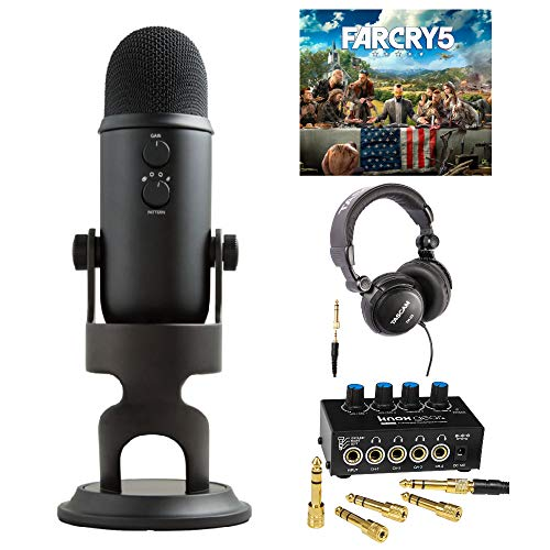 Blue Microphones Blackout Yeti Microphone Far Cry 5 PC Game Bundle with Studio Headphones and 4-Channel Headphone Amp