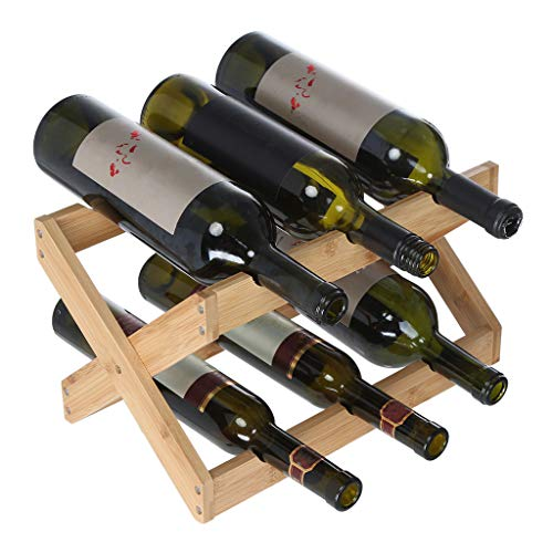 Markmall Hotel Furniture Wine Rack Decoration, Creative Bamboo Folding Wine Display Stand Foldable Countertop Wine Rack