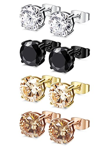 FIBO STEEL 4 Pairs Stainless Steel Round Stud Earrings for Men Women Ear Piercing Earrings Cubic Zirconia Inlaid,3-8mm