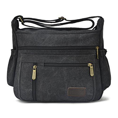 Qflmy Vintage Canvas Messenger Bag Handbag Crossbody Shoulder Bag Leisure Packet