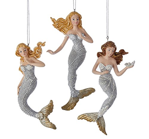 Silver and Gold Under the Sea Mermaids Christmas Holiday Ornaments Set of 3