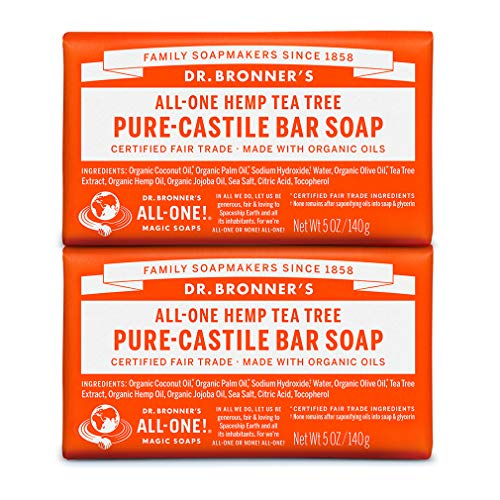 Dr  Bronner's - Pure-Castile Bar Soap (Tea Tree, 5 ounce, 2-Pack) - Made  with Organic Oils, For Face, Body, Hair and Dandruff, Gentle on Acne-Prone