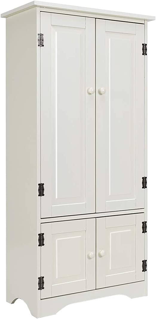 Amazon Com Giantex Accent Floor Storage Cabinet Adjustable Shelves Antique 2 Door Low Floor Cabinet Pantry 24 Lx13 Wx49 H White Kitchen Dining