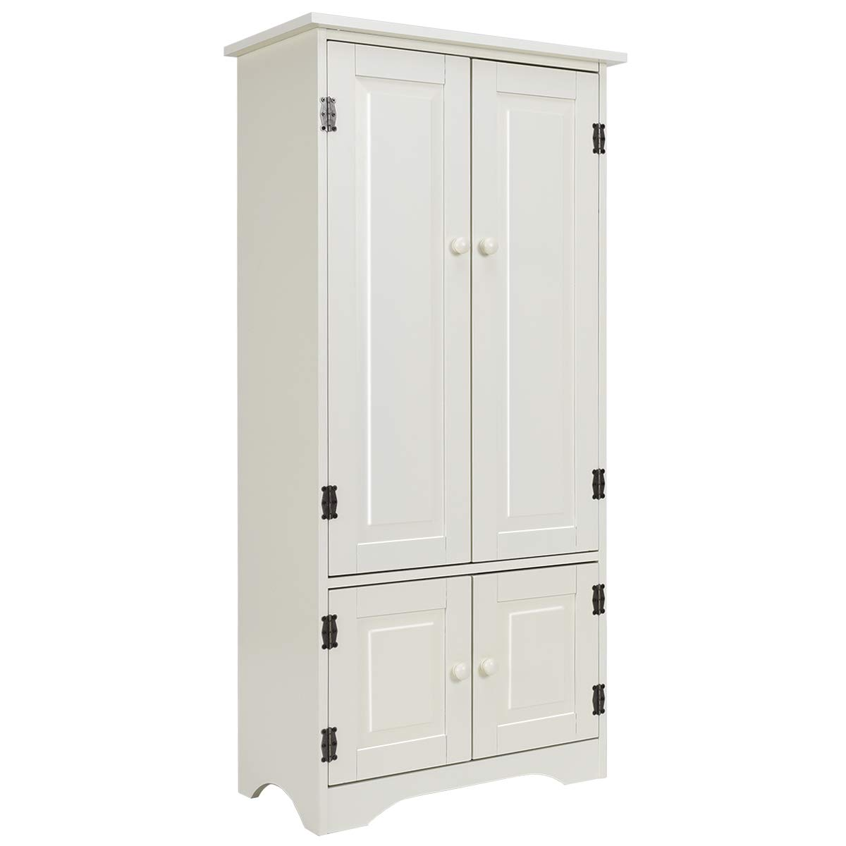 "Giantex Accent Floor Storage Cabinet Adjustable Shelves Antique 2-Door Low Floor Cabinet 24"" Lx13 Wx49''H (White)"