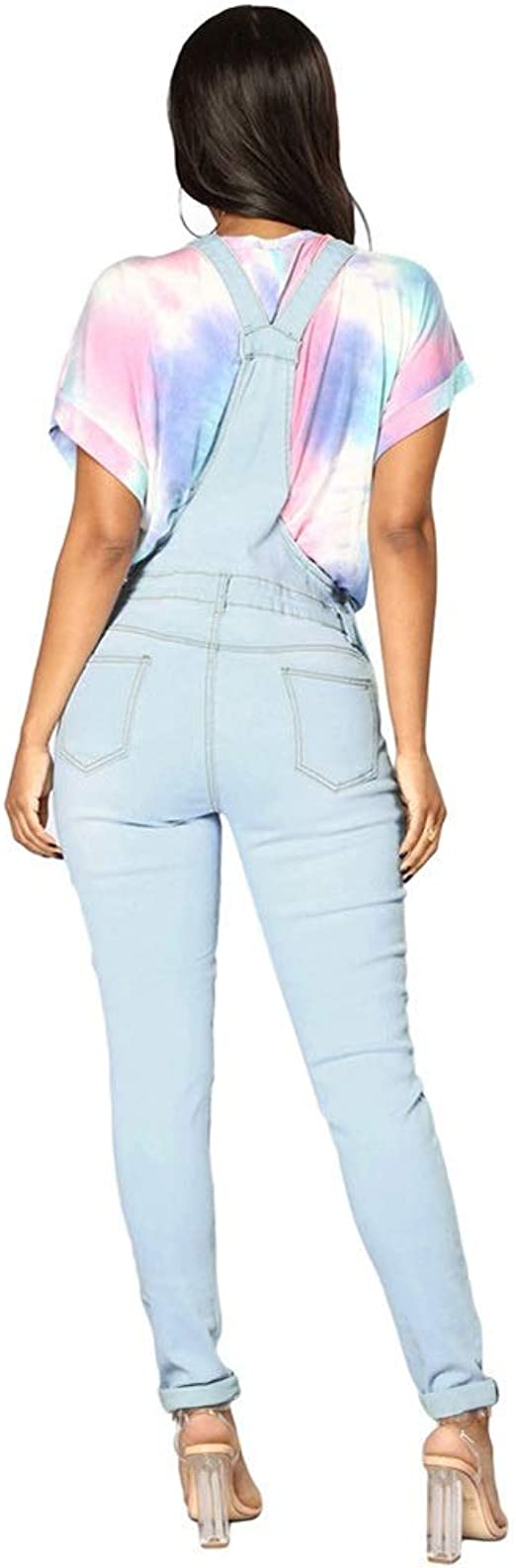 女性の調節可能なストラップポケット付きデニムオーバーオールをリッピング