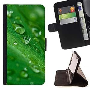 BullDog Case - FOR/Samsung Galaxy S6 EDGE / - / Green Water Drop Leaf 2 /- Monedero de cuero de la PU Llevar cubierta de la caja con el ID Credit Card Slots Flip funda de cuer