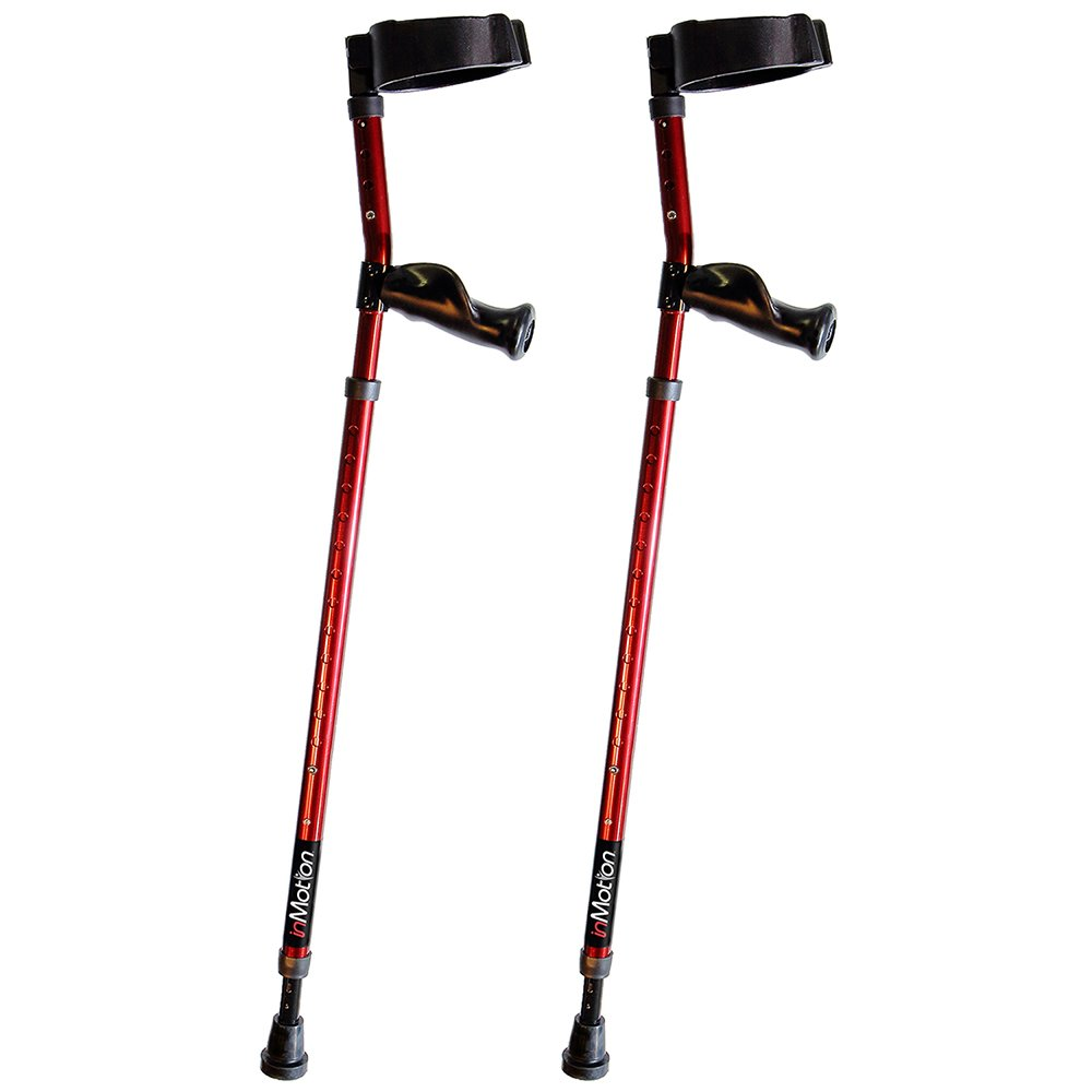 Millennial Medical Forearm In-Motion Crutches Ergonomic Handles - size Tall (4'9'' - 6'3'') | Electric Red