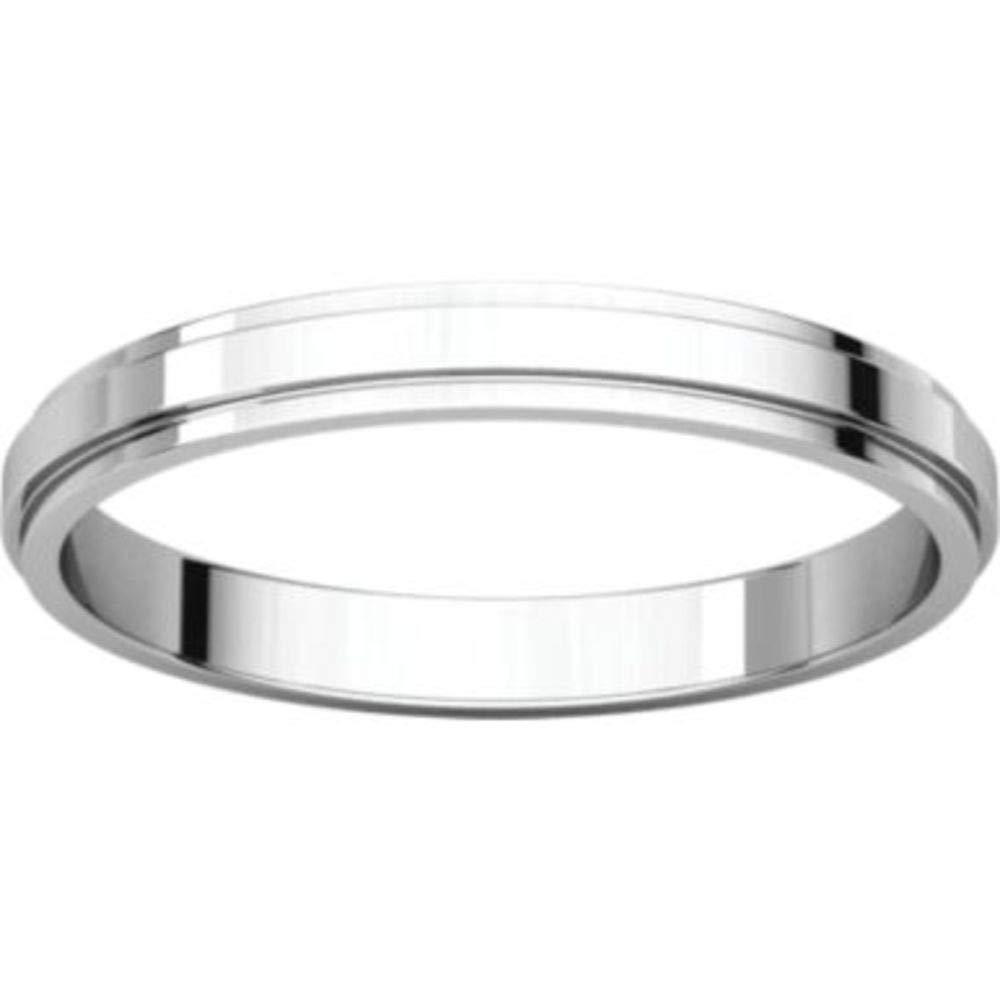 Bonyak Jewelry 14k White Gold 2.5 mm Flat Edge Band Size 11