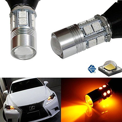 Rear Signal Kit - iJDMTOY No Hyper Flash Amber Yellow 7440 T20 5W CREE LED Bulb Kit For Car Front or Rear Turn Signal Lights (Plug-In-Play, No Modification)