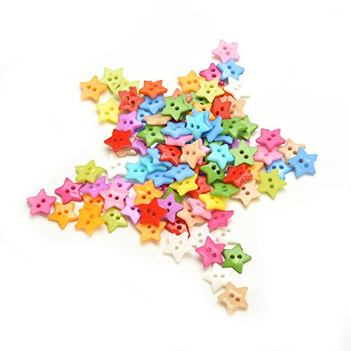 200 Pieces 2 Holes Cute Star Shape Assorted Color Acrylic Plastic Buttons for Sewing Scrapbooking Embelishments Crafts By DINGJIN