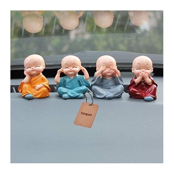 Jiada 4PCS Little Monk Cute Ornaments Car Interior Decoration Desk D