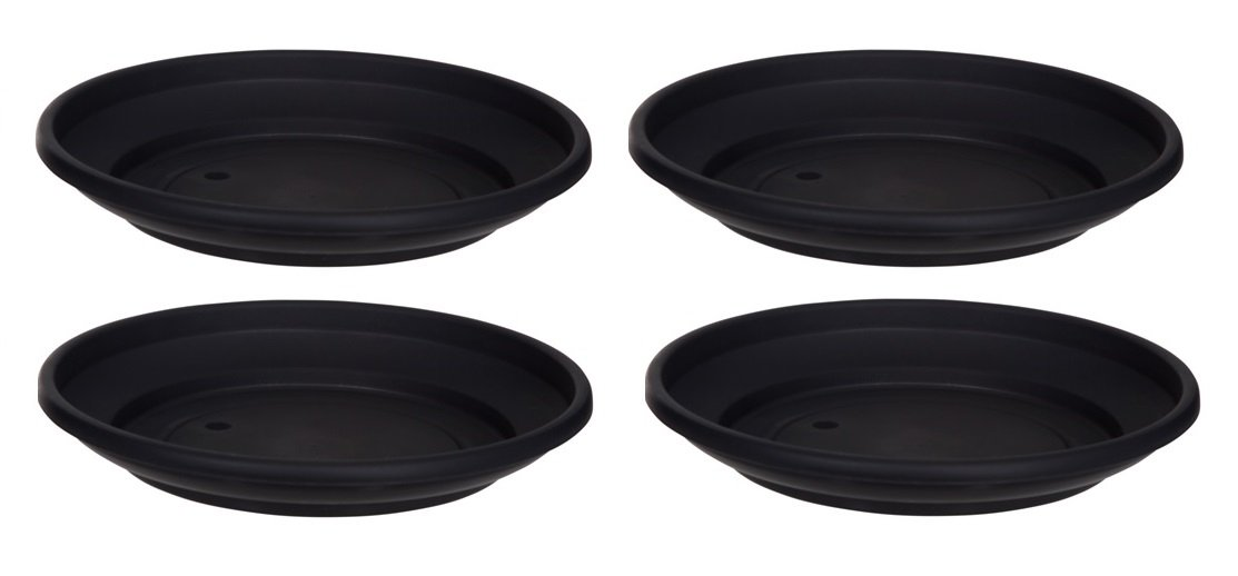 4 x Black Plastic Plant Pot Saucer 20cm Saucer Whitefurze