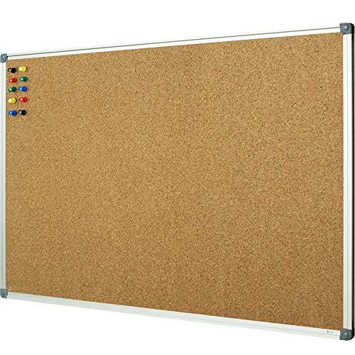 Lockways Corkboard Bulletin Board - Double Sided Cork Board 48 x 36 Notice Message Board 4 x 3 - Silver Aluminium Frame U12118762709 for Home, School & Office (Set Including 10 Push Pins)(36 X 48)