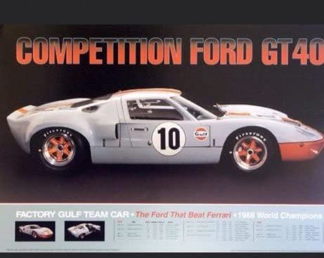 Ford GT MK II CANVAS Art Print Poster Shelby  GT 40 Le Mans Car Racing