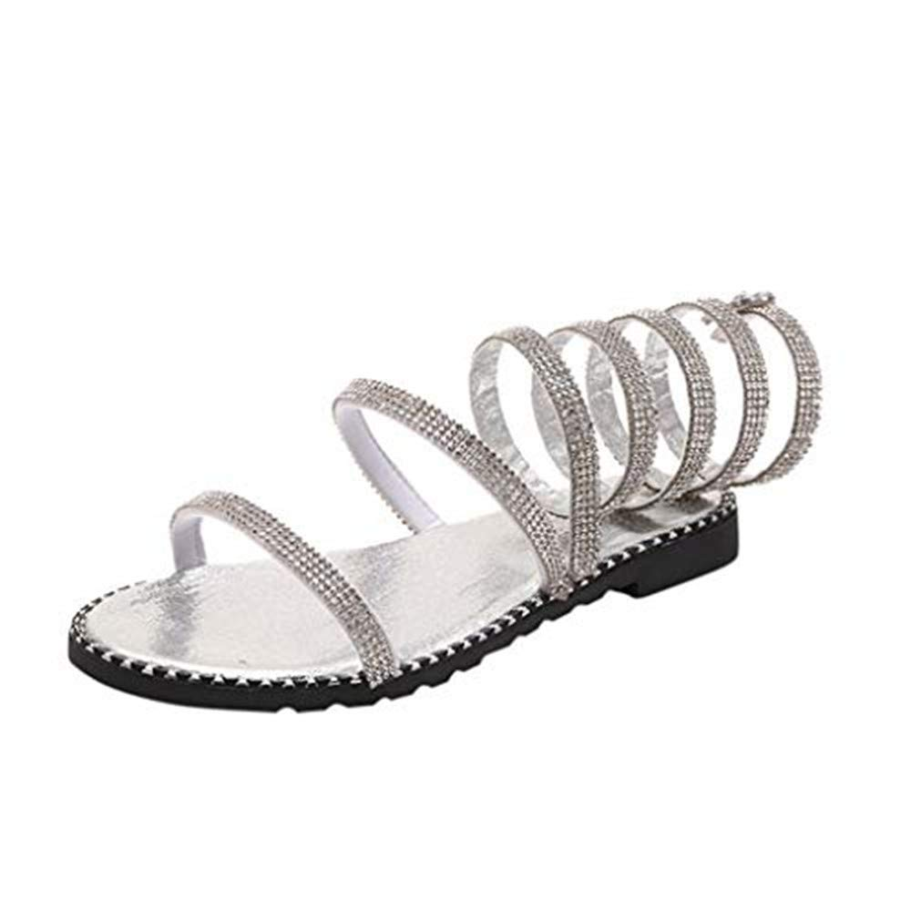 Xinantime Women's Rhinestone Gladiator Sandals Summer Flat Sandals,Low Heel Flip Flops Sandals Wedding Shoes White by Xinantime