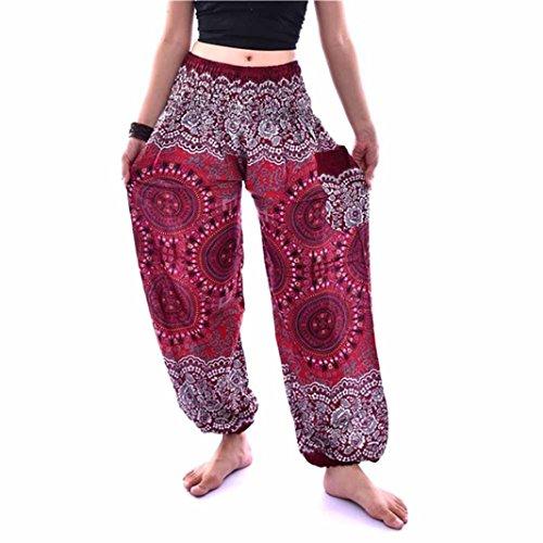 (Ruhiku GW Women's Casual Pants Bohemian Jogging Harem Pants with Side Pockets (Free Size, Wine Red))
