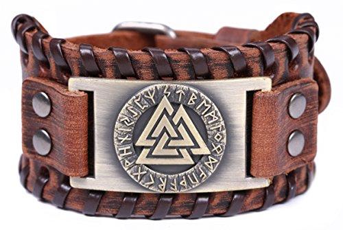 Buckle Warrior Belt (VASSAGO Vintage Amulet Nordic Runes Odin's Symbol of Warriors Valknut Charm Brown Belt Buckle Bracelet (Brown Leather, Antique Bronze))