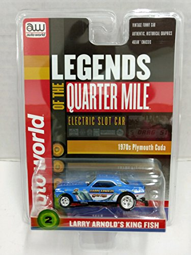 Scale Electric Slot Car - Auto World SC328 Legends of the Quarter Mile Larry Arnold's King Fish 1970s Plymouth Cuda Funny Car HO Scale Electric Slot Car