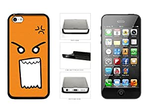 Orange Mad Angry Emoji Face Plastic Phone Case Back Cover For Apple iPhone 5c comes with Security Tag and MyPhone Designs(TM) Cleaning Cloth