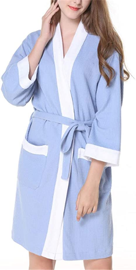 Mujeres Kimono Batas Algodón Ligero Bata Corta Tejido Albornoz Ropa de Dormir Suave con Cuello en V para baño,Albornoz de algodón Sauna SPA al Vapor A-3 S: Amazon.es: Hogar