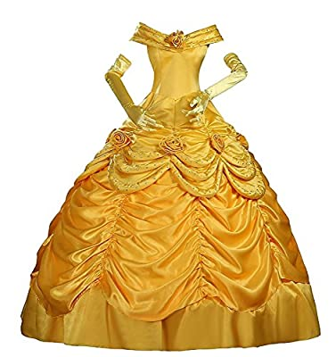 Kigcos Women's Halloween Party Belle Classic Satin Adult Cosplay Costume