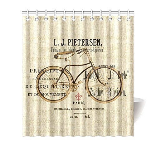 Jane Vintage Paris Bicycle Bike Theme Painting Bathroom Shower Curtain With Hooks 100 Polyester