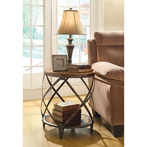Round side tables living room amazon coaster home furnishings casual accent table oak and red brown aloadofball Images