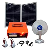 Belifal Solar Home Lighting System With Table Fan, 2 LED Bulbs, Power Box, 2 X 25W Panel (Backup Time 8 To 12 Hours)