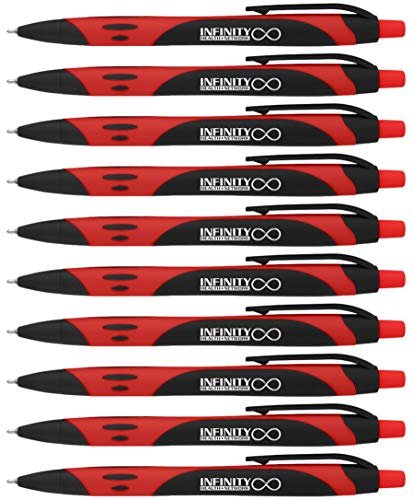 (Your Name Custom Printed on our Bentley Rubberized Two-Tone Soft Touch Ballpoint Pen a stylish, premium pen, black ink, medium point. Box of 12 - PERSONALIZED FREE (Red))