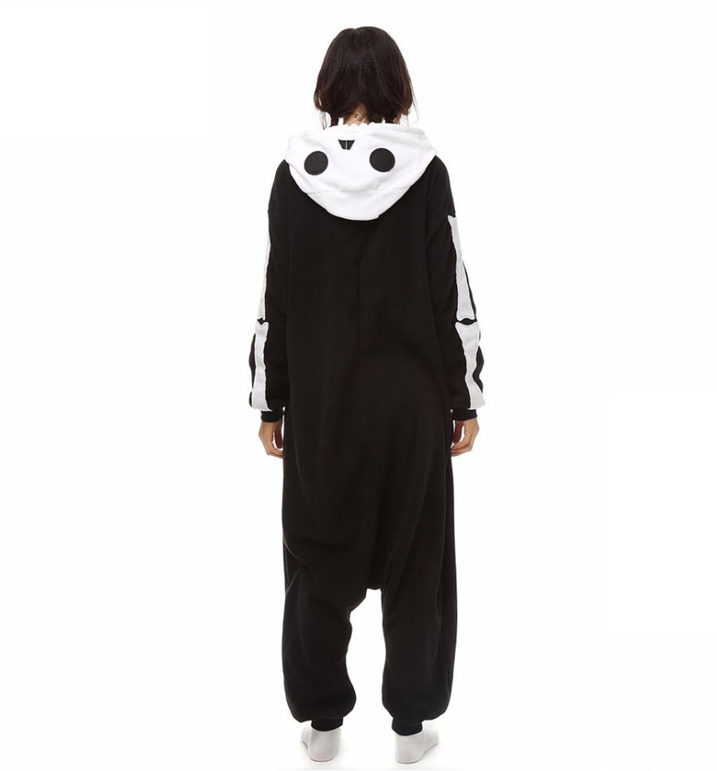 Amazon.com : HYY@ Kigurumi Pajamas Skeleton Leotard/Onesie Halloween Animal Sleepwear Black/White Patchwork Coral fleece Kigurumi Unisex Halloween : Sports ...