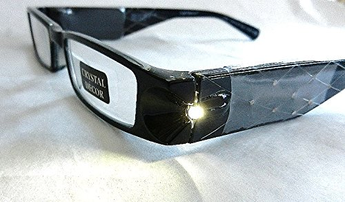 (+ BONUS) Foster Grant Lightspecs +2.00 Magnification Glasses with Black Frames and Rhinestone Accents - Ban Sight Glasses Ray