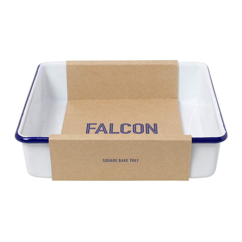 Falcon Enamelware Square Bake Tray Roasting Tray Dish in White with Blue Rim