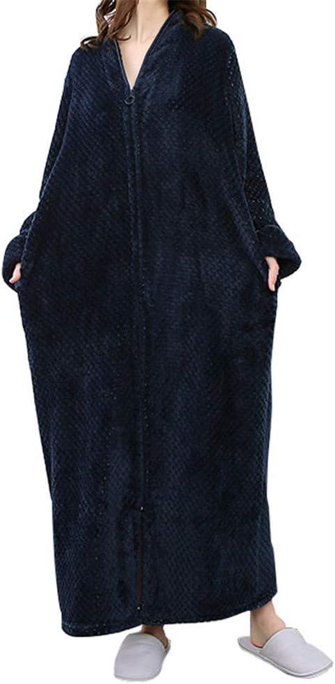 GODGETS Chemise de Nuit Longue Femme Manche Longue Unisexe Couple Pyjama Kimono Maternit/é Peignoir Robe de Chambre Polaire Zipp/ée Bathrobe Nightgown Hotal Spa Homewear Romper Cadeau de No/ël