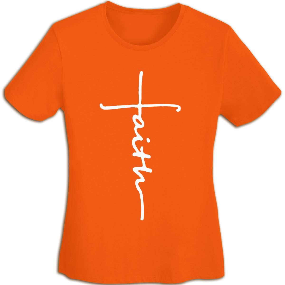 Women's T Shirt Cross Faith Shirts Jesus Tshirts Cotton Christian T-Shirt Short-Sleeve Tshirt for Women Youth Girls Orange L by BKashy