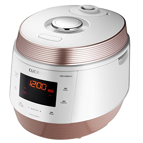 Cuckoo 8 in 1 Multi Pressure cooker (Pressure Cooker, Slow Cooker, Rice Cooker, Browning Fry, Steamer, Warmer, Yogurt Maker, Soup Maker) Stainless Steel, Made in Korea, White, CMC-QSB501S by Cuckoo (Image #1)