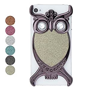 ZCLBlack Owl Pattern Flash Powder Hard Case for iPhone 4/4S , Blue