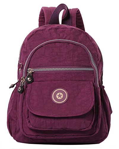 Veenajo Lightweight Backpack Durable Small Travel Daypack for Women Girls Waterproof Handbag(Purple)