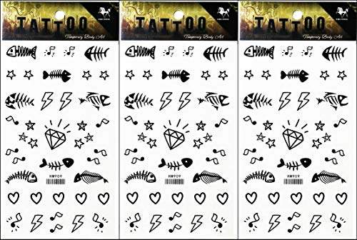 PP TATTOO 3 Sheets Temporary Tattoos Stickers Fish Bone Heart Cartoon Tattoo Sticker Art Vintage for Men Women Guys Waterproof Body -