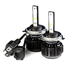 Krator LED H4 Headlight Conversion Bulbs 40W 4000LM Light Bulbs 9003/HB2 6000K White with Built-In Turbo Cooling Fan for 2011-2015 Kawasaki VN1700 Vulcan ...