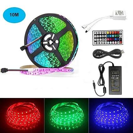 best website 3658b 32e50 AveyLum 32.8ft LED Strip Light RGB Non Waterproof 10M 5050 SMD 600 LEDs  Full Kit LED Rope Light Tape Lights Christmas Lighting for Home Kitchen ...