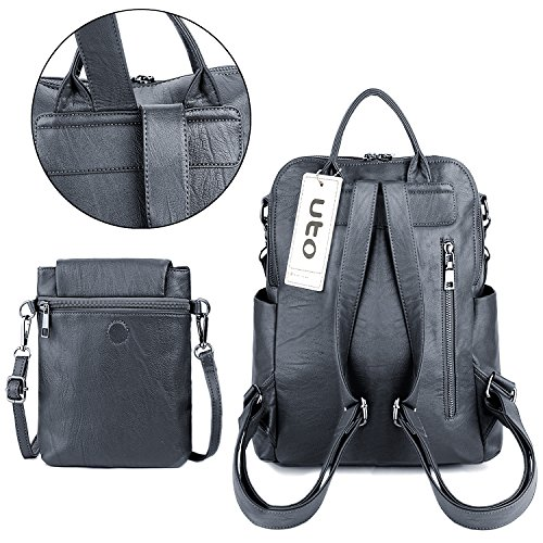 Crossbody Purse Leather Uto Washed Bag Ladies Rucksack Shoulder Backpack Detachable Pu Women Grey z6XxE1q