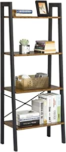 Yaheetech Industrial Storage Ladder Shelf, 4 Tier Bookshelf Rack Shelves, Multifunctional Plant Flower Display Stand, Easy Assembly, Wood Look Accent Home Office Furniture, Rustic Brown (Renewed)