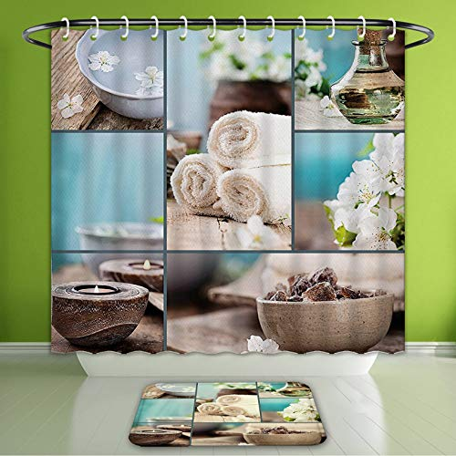 Waterproof Shower Curtain and Bath Rug Set Spa Decor Far East Close to Your Heart Asian Massage Theme Collage Oils Candles Flowers Blue an Bath Curtain and Doormat Suit for Bathroom 66